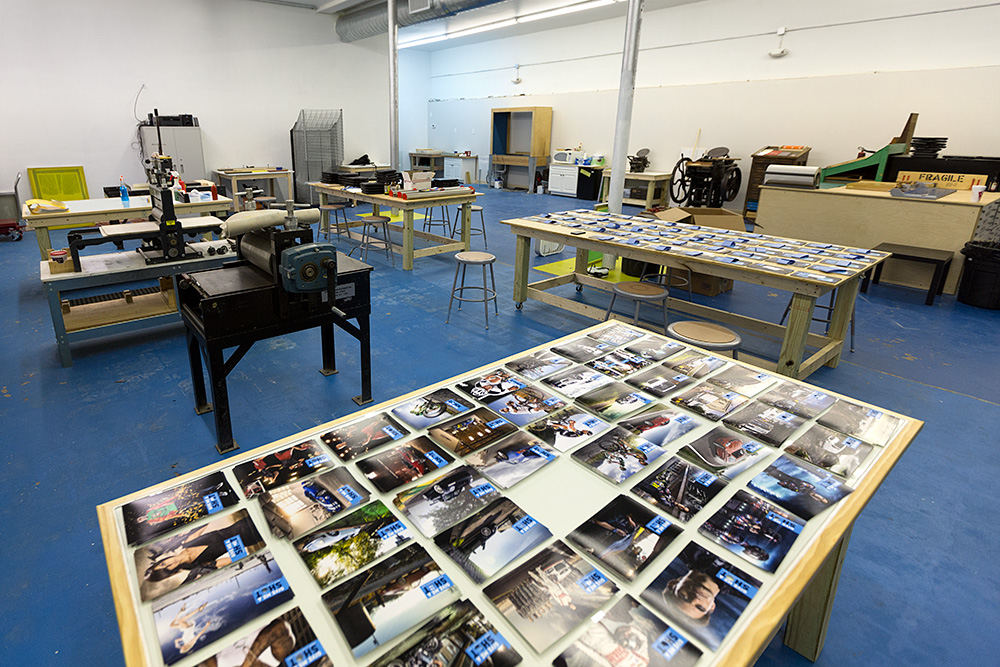 The Printshop was kind enough to lend me their HUGE space in Greenville, SC for 2 days to piece together every mailer...