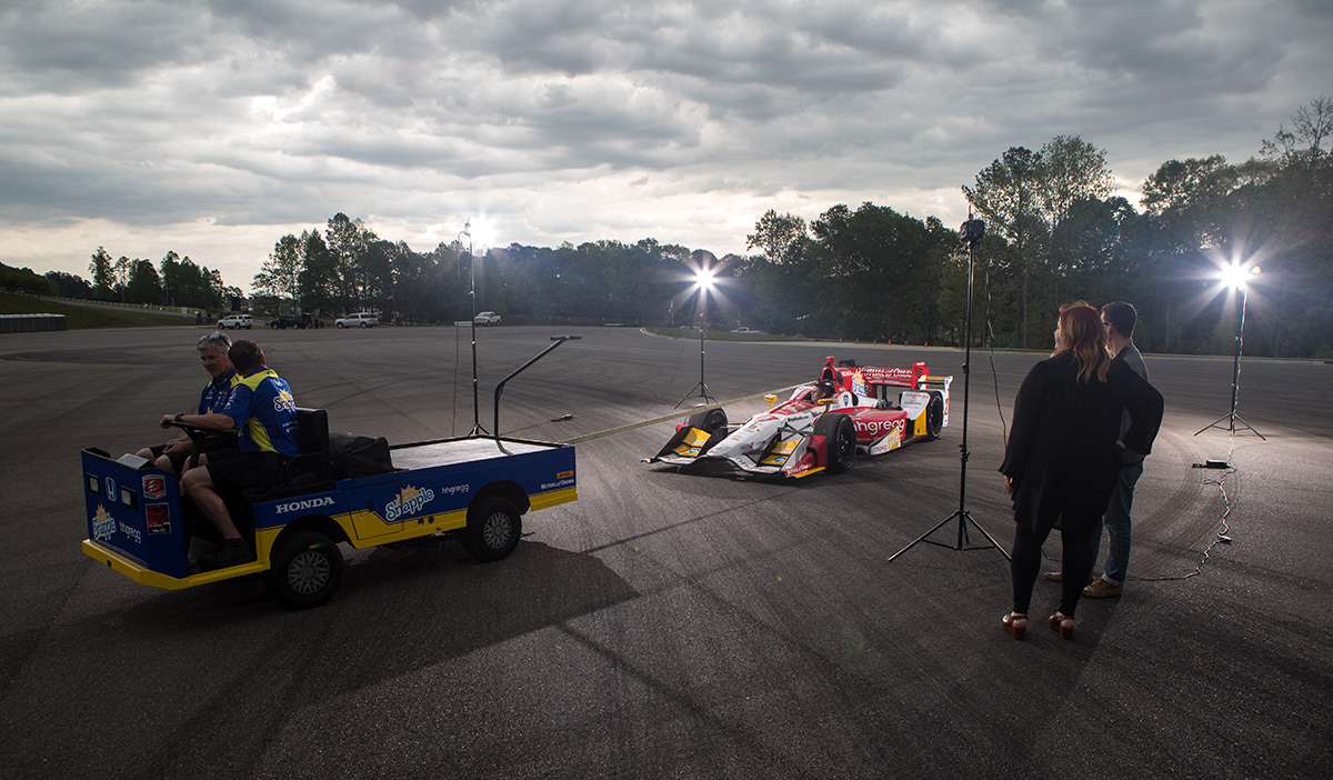 hhgregg IndyCar being towed into position